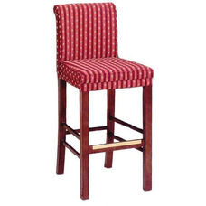 630 Bar Stool w/ Brass Trim and Upholstered Back and Seat - Grade 1