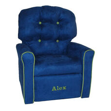 Kids Personalized 4 Button Microsuede Rocking Recliner with Kiwi Trim - Sea Blue