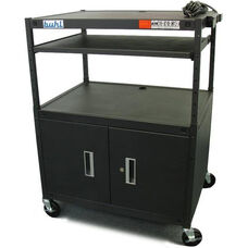 Black Height Adjustable AV Media Cart with Lockable Two Door Security Cabinet and Pull-Out Laptop Shelf - 32