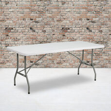 6-Foot Bi-Fold Granite White Plastic Folding Table