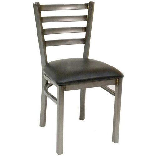 Quick Ship Armless Clear Coated Ladder Back Dining Chair - Black Vinyl Seat