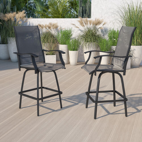 Patio Bar Height Stools Set of 2, All-Weather Textilene Swivel Patio Stools and Deck Chairs with High Back & Armrests in Gray