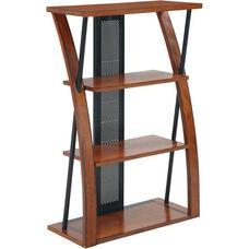 OSP Designs Aurora Bookcase with Three Storage Shelves and Powdercoated Black Accents - Medium Oak