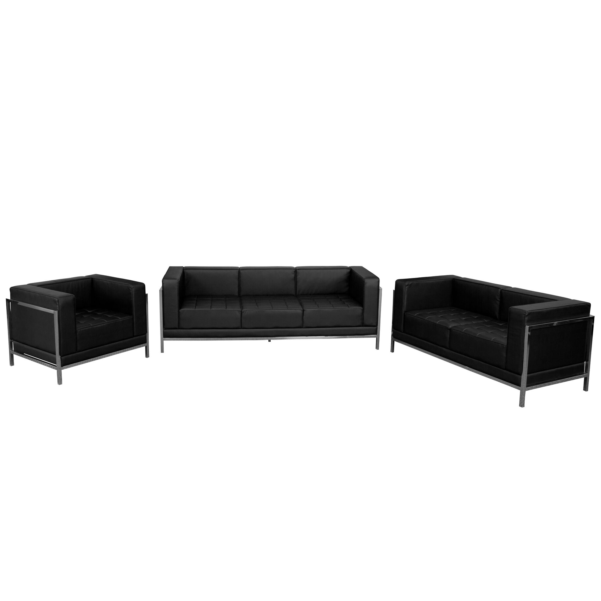 Our Hercules Imagination Series Black Leather 3 Piece Sofa