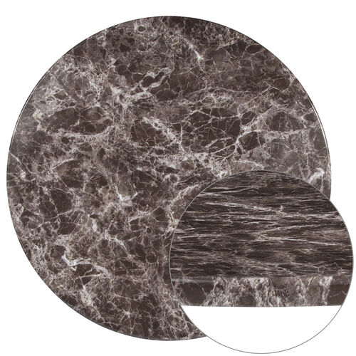 """Our 36"""" Round Gray Marble Laminate Table Top is on sale now."""