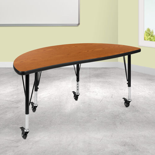"""Mobile 47.5"""" Half Circle Wave Collaborative Oak Thermal Laminate Activity Table - Height Adjustable Short Legs"""
