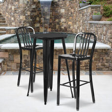 "Commercial Grade 24"" Round Black Metal Indoor-Outdoor Bar Table Set with 2 Vertical Slat Back Stools"