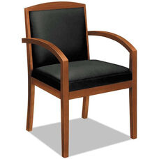 Basyx® VL850 Series Wood Guest Arm Chair with Black Leather Seat and Full Back - Bourbon Cherry