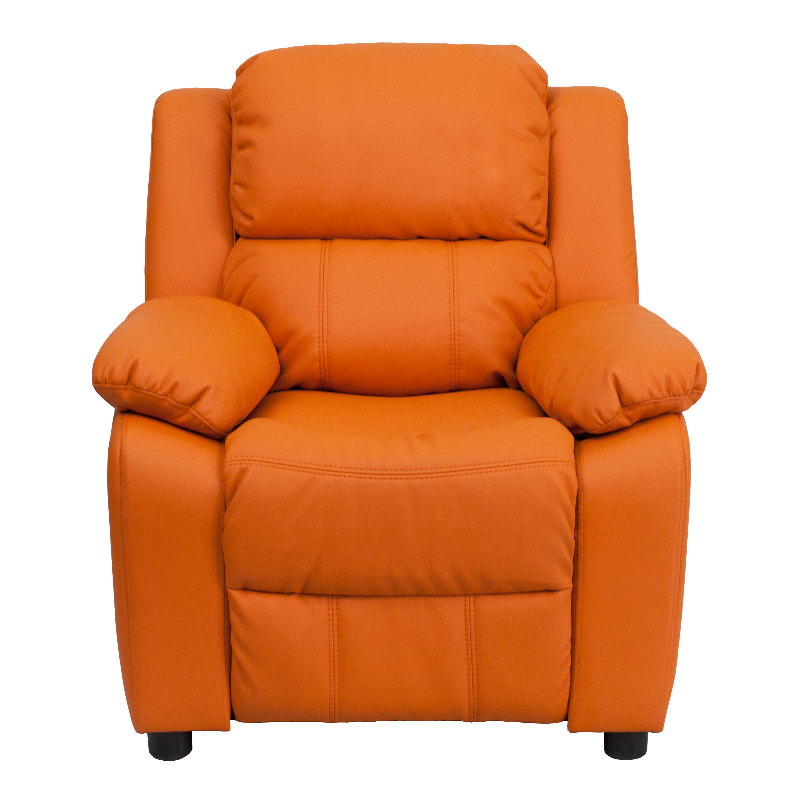 Our Deluxe Padded Contemporary Orange Vinyl Kids Recliner With Storage Arms  Is On Sale Now.
