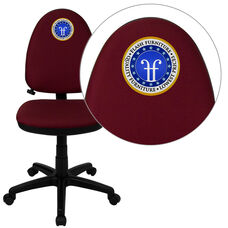 Embroidered Mid-Back Burgundy Fabric Multifunction Swivel Ergonomic Task Office Chair with Adjustable Lumbar