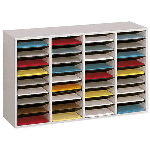 Adjustable Wooden Literature Organizer with Thirty-Six Compartments - Gray
