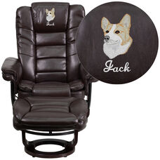 Embroidered Contemporary Multi-Position Horizontal Stitched Recliner and Ottoman with Swivel Mahogany Wood Base in Brown Leather