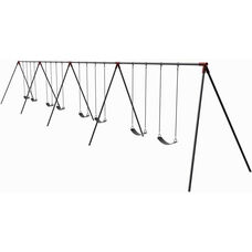 Eight Seat Primary Bipod Swing Set with Molded Rubber Seats and Thirteen Gauge Tubular Steel Frame - 96
