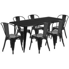 "Commercial Grade 31.5"" x 63"" Rectangular Black Metal Indoor-Outdoor Table Set with 6 Stack Chairs"