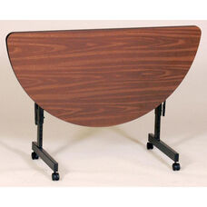 Adjustable Height Half-Round EconoLine Melamine Flip Top Table - 24
