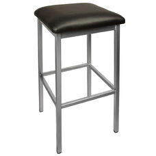 Trent Backless Silver Barstool - Black Vinyl Seat