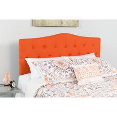 Cambridge Tufted Upholstered Queen Size Headboard in Orange Fabric