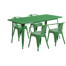 """Commercial Grade 31.5"""" x 63"""" Rectangular Green Metal Indoor-Outdoor Table Set with 4 Arm Chairs"""