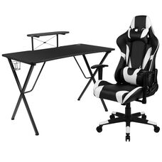 BlackArc Black Gaming Desk and Black Reclining Gaming Chair Set with Cup Holder, Headphone Hook, and Monitor/Smartphone Stand