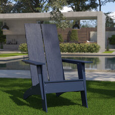 Sawyer Modern All-Weather Poly Resin Wood Adirondack Chair in Navy