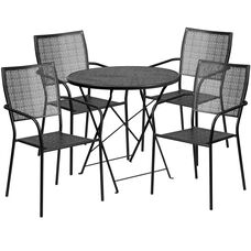 "Commercial Grade 30"" Round Black Indoor-Outdoor Steel Folding Patio Table Set with 4 Square Back Chairs"
