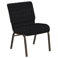 Embroidered 21''W Church Chair in Mystery Ebony Fabric - Gold Vein Frame