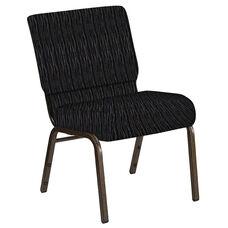 21''W Church Chair in Mystery Ebony Fabric - Gold Vein Frame