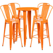 "Commercial Grade 24"" Round Orange Metal Indoor-Outdoor Bar Table Set with 4 Cafe Stools"