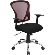 Mid-Back Burgundy and Black Mesh Swivel Task Chair with Chrome Base and Arms