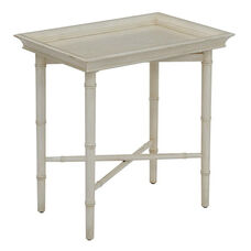 OSP Designs Salem Folding Serving Tray with Solid Wood Legs - Cream