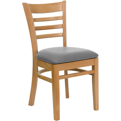 Our Natural Wood Finished Ladder Back Wooden Restaurant Chair with Custom Upholstered Seat is on sale now.