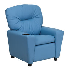 Contemporary Light Blue Vinyl Kids Recliner with Cup Holder
