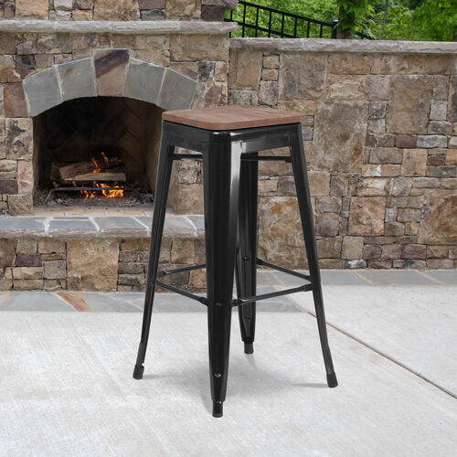 """30"""" High Backless Metal Barstool with Square Wood Seat"""
