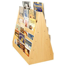 Birch Double Sided Mobile Book Display with Five Easy Reach Shelves on Each Side