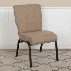 Advantage 20.5 in. Mixed Tan Molded Foam Church Chair with Book Rack