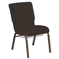 Embroidered 18.5''W Church Chair in Scatter Timber Fabric with Book Rack - Gold Vein Frame
