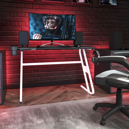 BlackArc White Gaming Ergonomic Desk with Cup Holder and Headphone Hook