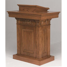Stained Red Oak Pedestal Pulpit with Adjustable Bible Rest
