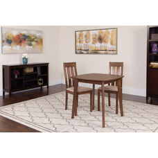 Waterbury 3 Piece Walnut Wood Dining Table Set with Vertical Slat Back Wood Dining Chairs - Padded Seats