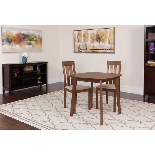 Our Waterbury 3 Piece Walnut Wood Dining Table Set with Vertical Slat Back Wood Dining Chairs - Padded Seats is on sale now.
