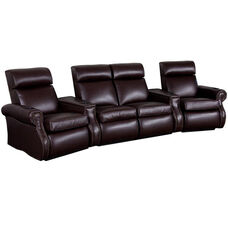 Bradford Four Seater Home Theater - Wedge Arm in Top Grain Leather with Leather Match