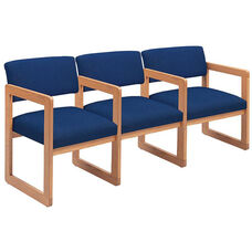 Classic Series Open Back 3 Seats with Sled Base and Center Arms