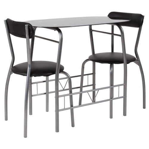 Our Sutton 3 Piece Space-Saver Bistro Set with Black Glass Top Table and Black Vinyl Padded Chairs is on sale now.