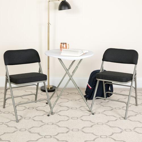 "HERCULES Series 18""W Premium Curved Triple Braced & Hinged Fabric Upholstered Metal Folding Chair"
