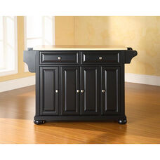 Natural Wood Top Kitchen Island with Alexandria Style Feet - Black Finish