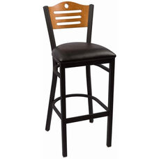 Eagle Series Wood Back Armless Barstool with Steel Frame and Vinyl Seat - Cherry