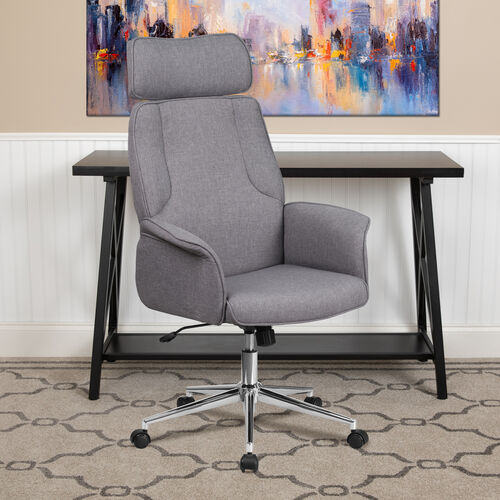 Our High Back Gray Fabric Executive Swivel Office Chair with Chrome Base and Fully Upholstered Arms is on sale now.