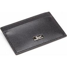 RFID Blocking Slim Credit Card Wallet - Saffiano Genuine Leather - Black