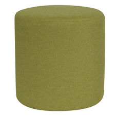 Barrington Upholstered Round Ottoman Pouf in Green Fabric