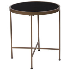 Chelsea Collection Black Glass End Table with Matte Gold Frame